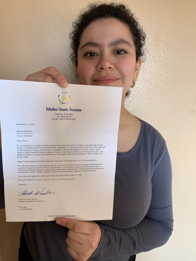 Julissa Melendez Accepted to hold, the title of a Page at our state legislature
